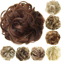 WR_ REAL NATURAL CURLY MESSY BUN HAIR PIECE SCRUNCHIE NEW FAKE HAIR EXTENSIONS T