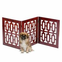 Safety Pet Gate Dogs Free-Standing Folding Wooden Fence Barrier Stairs Doorway