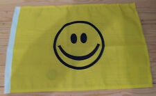 "SMILEY FACE FLAG - 45cm x 30cm - 18"" x 12""  -  Yellow"