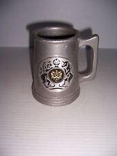 Vintage Pewtique Pewter Beer Mug Stein With Knights Crest