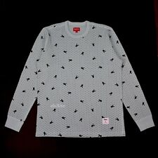 NWT Supreme x Playboy Men's Light Blue Bunny Logo Waffle Knit LS Shirt AUTHENTIC