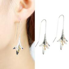 Women Silver Orchid Lotus Magnolia Flower Pendant Dangle Drop Earrings Funny US