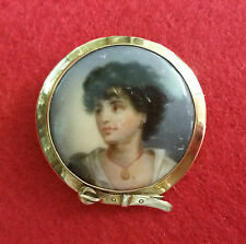 Early Antique Painting on Porcelain Brooch set in 9ct Gold Belt Surround