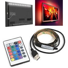 5050 60SMD/M 5V USB RGB LED Strip Lamp Bar TV Back Lighting Kit + Remote Control