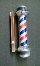 Barber Pole Light Red White Blue Stripes Rotating Metal Hair Salon Shop