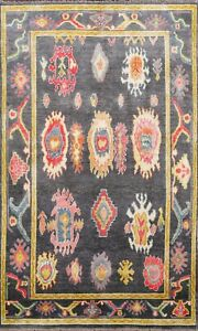 5x8 Authentic Ushak Vegetable Dye Turkish Area Rug Geometric Floral Hand-knotted