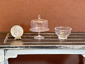 Vintage Artisan FERENC ALBERT Glass Cake Stand & Bowl Dollhouse Miniature 1:12