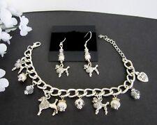 Poodle Dog Charm Bracelet & Earrings w/ Fresh Water Pearls &  Crystals