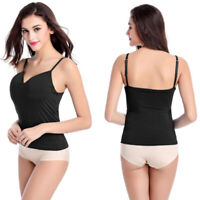 Women Girls Built-in Bra Padded Strap Yoga Tank Top Camisole Cami Vest Tops New