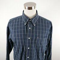 Tommy Hilfiger Mens Cotton LS Button Down Navy White Checkered Plaid Shirt XL