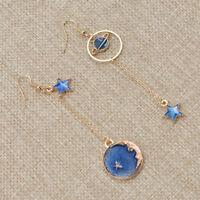 Fashion Planet Moon Drop Dangle Ear Stud Earrings Asymmetric Jewellery Gifts