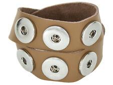 Doppeltes Chunk Leder Armband beige 6 Druckknöpfe Click Button Kette Ring Snap