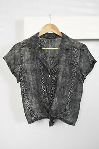 GLASSONS Sheer Snake Print Tie Waist Shirt Size 10