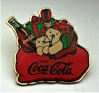 1990s Coca-Cola Coke Polar Bears Christmas Santas Gift Bag Lapel Pin Nos New MIP