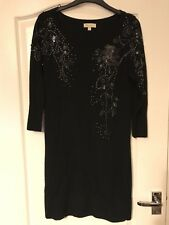 Monsoon Black Long Sleeved Wool Dress Sz Small Party Occasion Bead Detail Xmas