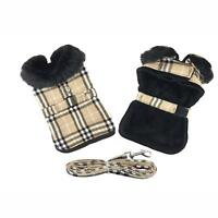Doggie Design Brown Plaid Classic Dog Coat Harness W Matching Leash Sizes XS-2XL