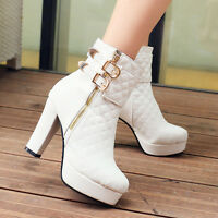 Stylish Womens Buckle Chunky High Heels Ankle Boots Warm Zip Platform Sz 35-43