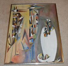 ABSTRACT PAINTING BIRDS HATCHING OIL ON BOARD SIGNED LEE UNKNOWN ARTIST