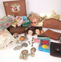 Vtg Junk Drawer Lot Skeleton Key Tooled Leather Office Cigar Wood Box Textile