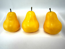 3 Yellow Pears Kitchen Fruit Home Decor Faux Fake Theater Props Staging Accent