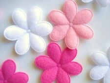 """60 Pink Tone BIG 2"""" Felt Daisy Flower Applique/bow/padded/white/hot pink H187"""