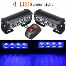 2x 4LED Blue Car Police Strobe Emergency Flash Warning Light Grille Hazard Lamp