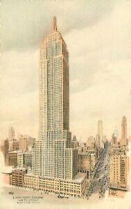 Artist Birdseye Empire State Building New York City 1930s Postcard 21-2159