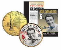 JOE DiMAGGIO * Hall of Fame * Legends Colorized NY Quarter 24K Gold Plated Coin