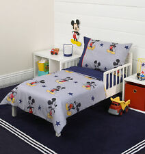 Disney 4-Piece Mickey Mouse 90th Birthday Toddler Bedding Set Kids Room New