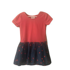 HANNA ANDERSSON Strawberry Play Dress Pink Blue SIZE 110 OR US 5 Short Sleeve