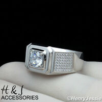 MEN 925 STERLING SILVER LAB DIAMOND ICED OUT BLING GOLD ROUND RING*AGR61
