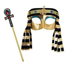 Girls Egyptian Mask Sceptre Fancy Dress Set Childs Cleopatra Kids Costume
