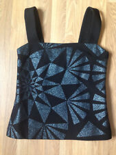 VERSUS VERSACE Top black & blue geometric glitter print , Size 10UK, Evening top