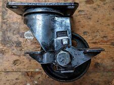 Set of 4 vintage finish industrial cast iron wheel castors