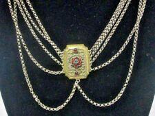 Vintage Victorian Sterling Necklace Garnets Emerald Georgian Festoon cabochons