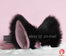 Hot Anime Cute Cosplay Costume Party long fur Kitty Cat ears Black White