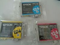 LOT OF 3 EPSON T124 CYAN/MAGENTA/YELLOW INK CARTRIDGES/FACTORY SEALED/GENUINE LV