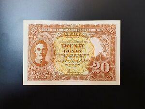 Malaya 1941 20 Cents KNB9a UNC