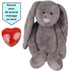 Gris Flopsy Bunny Ours Avec 40 Seconde Voix Enregistreur / Bébé Heartbeat - 40cm