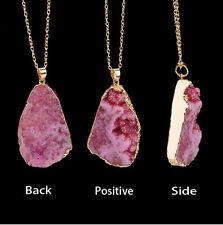 Natural Crystal Quartz Gemstone Chakra Healing Wire Wrap Pendant Chain Necklace