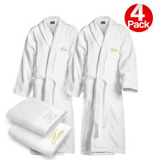 Kaufman-4Pack. His and Hers Bathrobes Embroidered Velour Shawl with 2 Towels Set