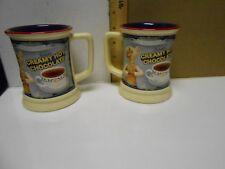 Set of 2 Polar EXPRESS 3D Creamy Hot Chocolate 12oz Coffee Mug  Cup Warner Bros.
