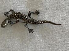 Vintage Sterling Silver 925 Marcasite Deco Gecko Lizard Pin Brooch