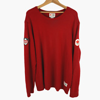 Hudson's Bay Mens Olympics 2010 Sweater Red Cotton Pullover Patches Canada Sz XL