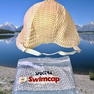 Vintage Spectra Swim Cap with Strap White Textured Made in Ireland New Old Stock