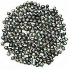 10 pcs 9-10mm Undrilled Circle Baroque Loose Tahitian Black Pearl