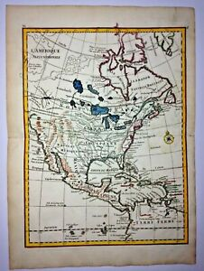 NORTH AMERICA 1756 Georges-Louis LE ROUGE ANTIQUE ENGRAVED MAP 18TH CENTURY