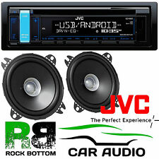 "JVC CD MP3 USB AUX Android Car Stereo Radio & 420 Watts 10cm 4"" Speakers Bundle"