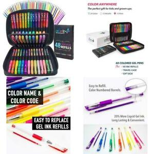 ColorIt Gel Pens For Adult Coloring Books – Premium Ink Gel Pens Set With Case I
