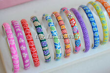 wholesale 12pcs pretty Mix Flower Polymer Clay women Bangles Bracelets 8mm wide